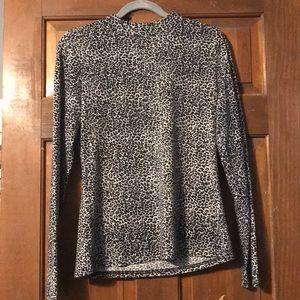 Mock Neck Cheetah print shirt